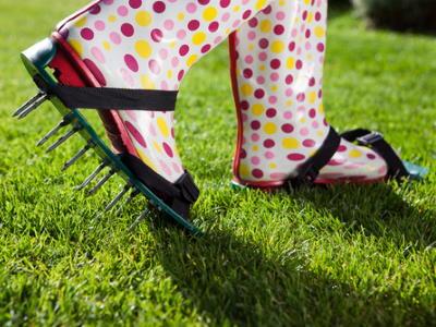 Rasen lüften Schuhe